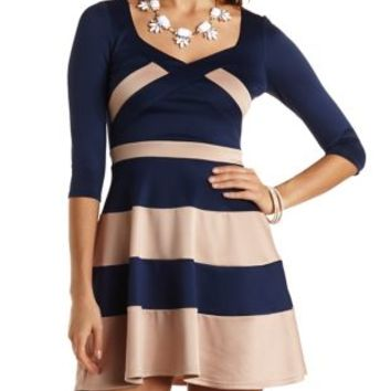 Three-Quarter Sleeve Scuba Skater Dress