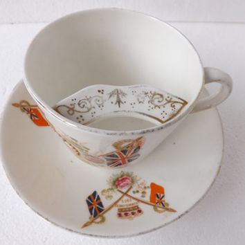 Antique King George V Teacup / Antique Mustache Cup / 1911 Coronation British Royal Family / William Lowe / Moustache Cup