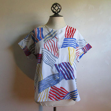 Vintage Flag Print Broadcloth Top 80s Cotton Stripe Colorful Blue Red 1980s Nautical Short Sleeve Cuff Shirt M