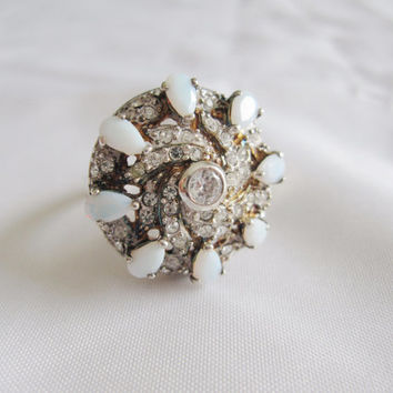 Estate Vintage 925 Sterling Silver Opal and Rhinestone Crystal Retro Atomic Starburst Mad Men or Victorian Edwardian style Ring