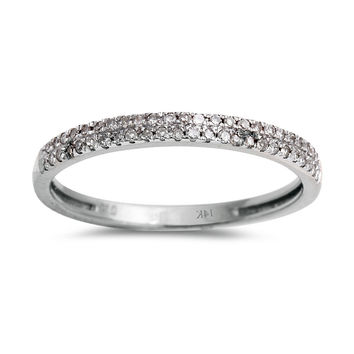 0.15ct Round Pavé Diamonds in 14K White Gold Half Eternity Band Ring