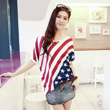 Women's American Flag Batwing Flowy Loose Tee Shirt