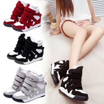 Lady Sneakers Wedge High Top Casual Sports Shoes Women Canvas Wedge Sneakers Platform