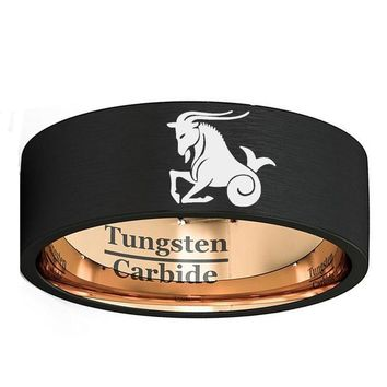 Custom Zodiac Capricorn Engraved Ring 8mm Mens Black & Rose Gold Double Color Tungsten