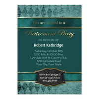 Teal Argyle Classic Retirement Party Invitations