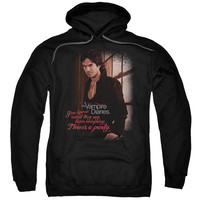 VAMPIRE DIARIES/THREES A PARTY-ADULT PULL-OVER HOODIE-BLACK