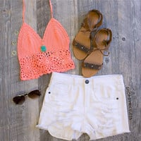 Janis Crochet Top - Coral