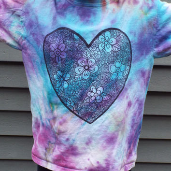 Zentangle Heart- Girl Valentine Shirt- Girls Heart Shirt- Girls Heart Tshirt- Girls Tie Dye Shirt- Girls Valentines Outfit - Kids M (8-10)