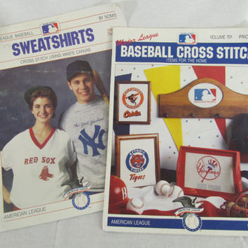 Vintage 1988-89 American League Baseball Cross Stitch Pattern Books