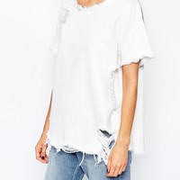 Waven Denim T-Shirt With Distressed Rip & Repair