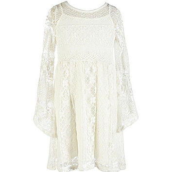 Soprano 7-16 Bell-Sleeve Lace Dress - Off White