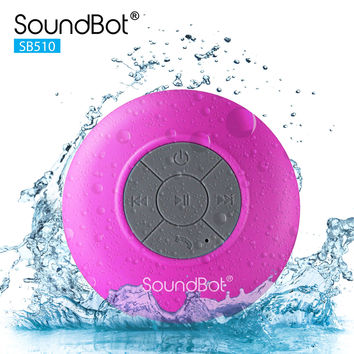 SoundBot SB510 HD Water Proof Bluetooth 3.0 Speaker Mini Water Resistant Wireless Shower Speaker Handsfree Portable Speakerphone with Built-in Mic Pink