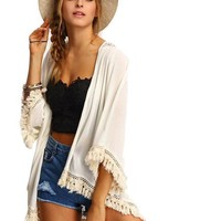 SheIn Shirts And Tops For Ladies Three Quarter Length Sleeve Cotton Beige Fringe Lace Insert Casual Kimono