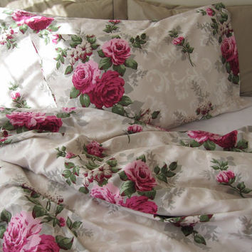 Full duvet cover Shabby chic bedding hot pink fuchsia cabbage rose floral bedding set 3 pcs Turkish bedding by Nurdanceyiz Turkey