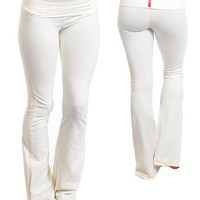 White or Black Full Length Exercise Foldover Yoga Pants