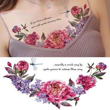 Skull Skulls Halloween Fall New designs Chest Flash Tattoo large rose flower dragonfly shoulder arm Sternum tattoos henna body/back paint Under breast  Calavera