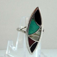 Native American Indian Sterling Silver Ring w Inlaid Turquoise, MOP, Onyx, Carnelian