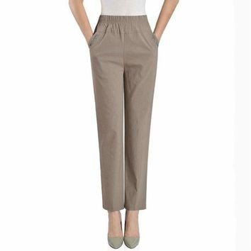 Casual Loose Elastic High Waist Cotton Mother Female Women Ankle Length Pencil Pants Trousers 79060