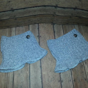 Silver gray white Recycled Sweater Boot Cuffs, Upcycled Boot Cuffs, sparkle boot cuff,  green Boot cuff, Boot Sock, boot cuff with button,
