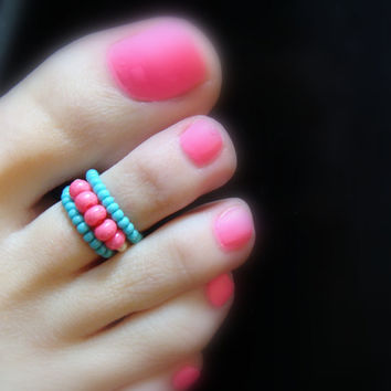 Toe Ring - Hot Pink - Turquoise - Stretch Bead Toe Ring