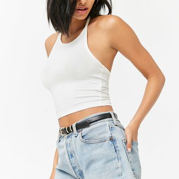 Ribbed Halter Crop Top