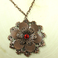 Copper Flower Necklace with red crystal rhinestone