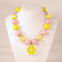 Girls Boutique Jewelry Gumball Necklace Pink and yellow Lemon Fruit Slice Chunky Beaded Necklace Flower Necklace
