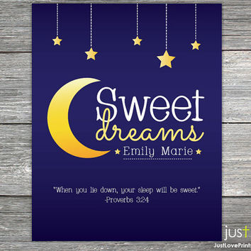 Custom Name Sweet Dreams Print - Proverbs 3:24 - Christian Scripture Nursery Art