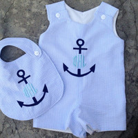 monogrammed baby boy clothes, baby boy outfits, Light Blue seersucker Anchor Jon Jon and bib, Personalized Nautical Outfit, baby gift set