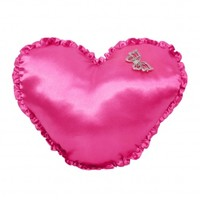 Wake Up Frankie - Ruffled Satin Heart Dec Pillow : Teen Bedding, Pink Bedding, Dorm Bedding, Teen Comforters