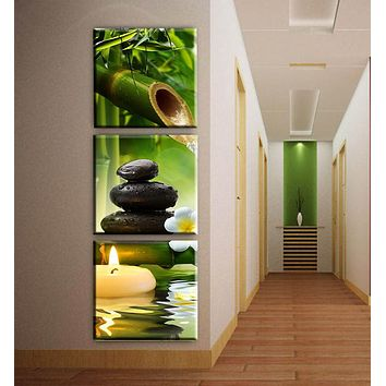 3 Panels bamboo candle canvas art modern oil painting wall pictures for living room decoration pictures corridor decor unframed