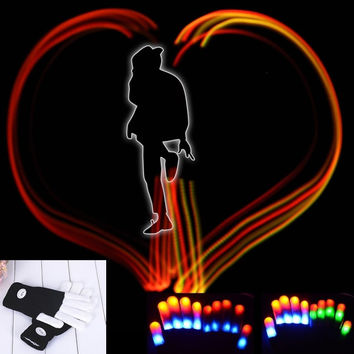 Flashing Gloves L Rave Lights Glow Finger Mitts Magic 7 Mode Light Up  D_L = 1713080900