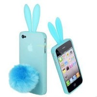 DC Light Blue Bunny Rabbit with Cute Ears Case Cover for Apple iPhone 4 4S with Stand Tail