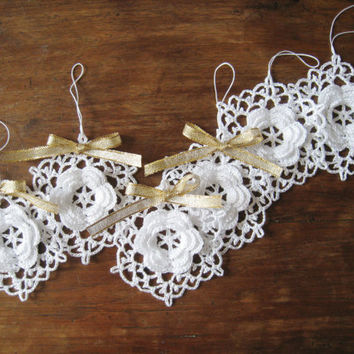 Crochet Snowflake Ornaments White Wall Hanging Modern Wall Art Baby Mobile Parts Home Decor Christmas Decorations