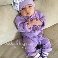 Newborn Baby Hospital Hat Beanies / Baby Girl Beenie / Lilac/Light Purple Soft Cotton Knit Winter Beanie / Infant Hat Bow More Sizes Colors