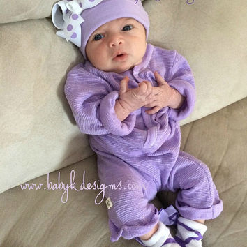 9a05b97da Newborn Baby Hospital Hat Beanies / Baby Girl Beenie / Lilac/Light Purple  Soft Cotton Knit Winter Beanie / Infant Hat Bow More Sizes Colors
