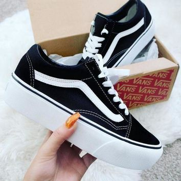Vans Stylish Women Casual Old Skool Platform Black Sneaker Thick Shoe Sole I