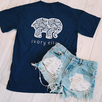 True Navy White Paisley Short Sleeve