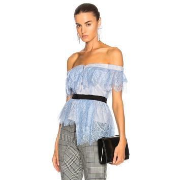 Baby Blue Lace Off Shoulder Blouse