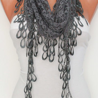 Gray Cozy Shawl Scarf - Headband -with Lace Edge - Trending Summer
