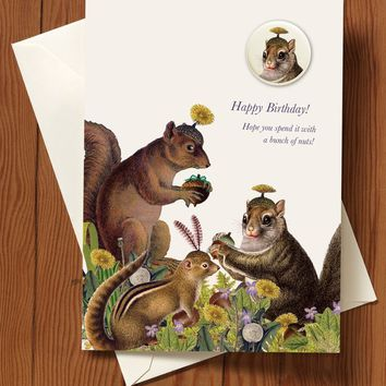 Happy Birthday! Squirrel Greeting Card with pin
