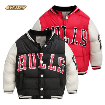 Kid Winter Boy Clothes Warm Coat ChildrenThick Bulls Baseball Jacket for Boys Baby Girl Cartoon Sport Parkas Letter Outerwear