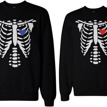 Skeleton Couple Sweatshirts Halloween Sweaters Fleece for Horror Night