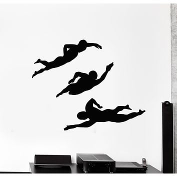 Vinyl Wall Decal Swimmer Diver Water Swimming Pool In Action Stickers Mural (g697)