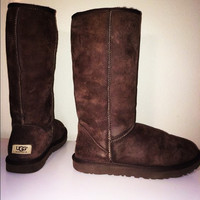 """""""UGG"""" Women Fashion Wool Snow Boots simple high boots Coffee"""