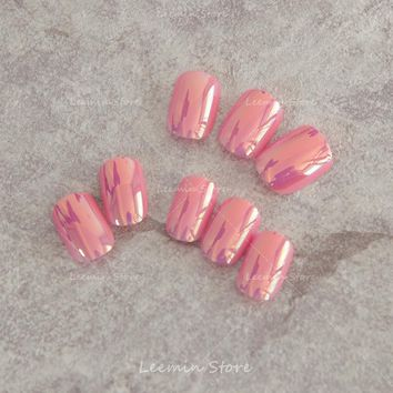 False nail  Pink Manicure mirror nail  color reflective multiple  nail  patch finished glass paper effect / soft nails