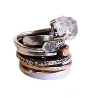 RING with Diamond crystal in Sterling Silver and Gold metal, Hammered, Forged. Handmade. Organic and Rustic in style.