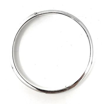 Sterling Silver Classic Square-Edged Hinged Bangle Bracelet, All Sizes
