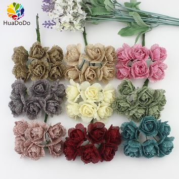 New 6pcs 3cm silk Rose Artificial flowers bouquet Burlap Hessian Flower for Wedding Decoration Scrapbooking Craft DIY wreaths