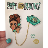 Phone Call From Beyoncé Double Brooch or Collar Clips